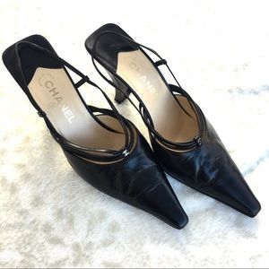 CHANEL Strappy Slingback Pointed Toe Leather Heels